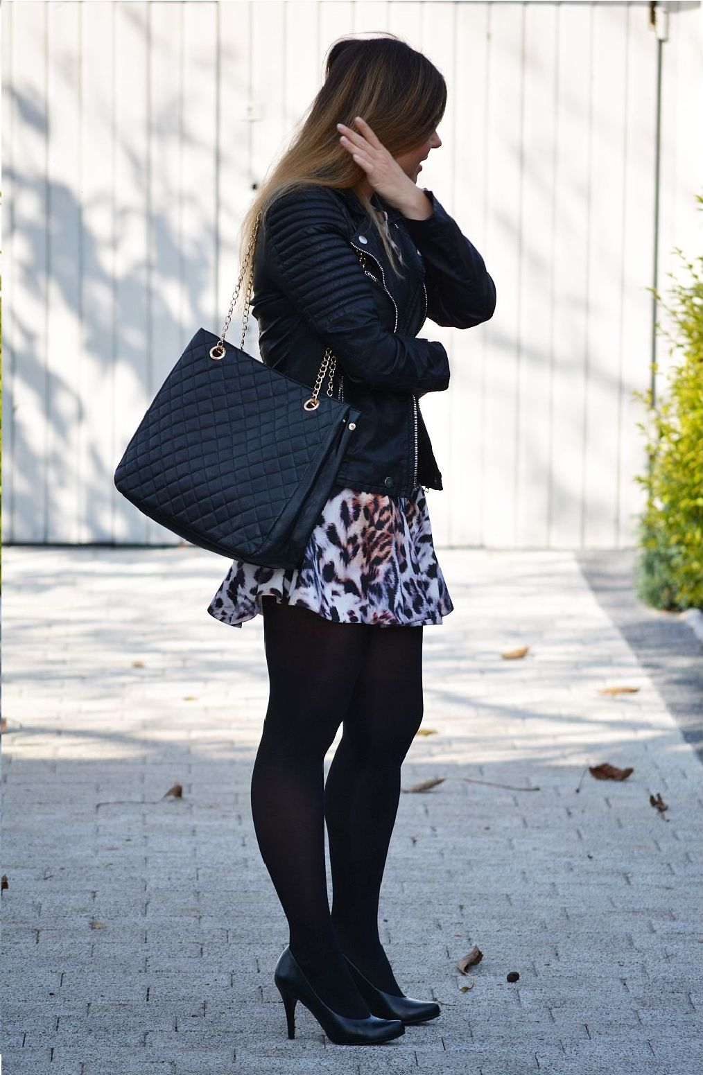 Leather jacket Stradivarius, Grouper dress, black tights, high-heels Deichmann, leather bag Stradivarius